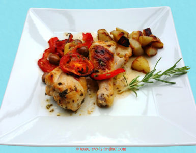 Pollo mediterráneo con topinambur