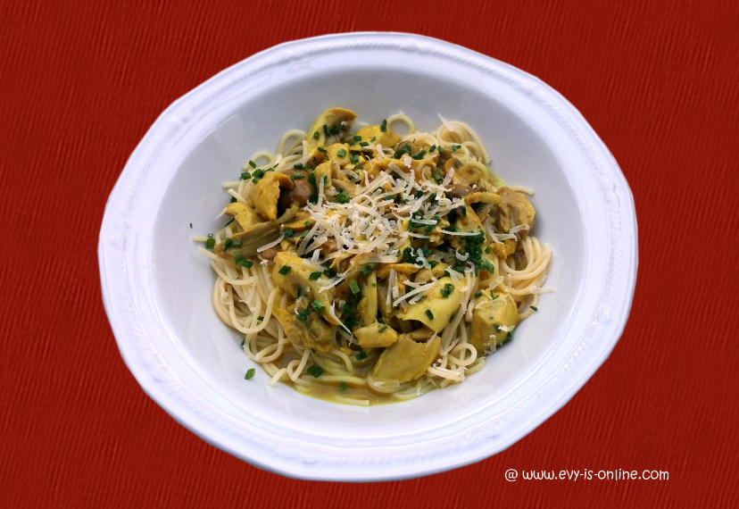 Spaghetti mit Hähnchenstreifen in Limetten-Soße