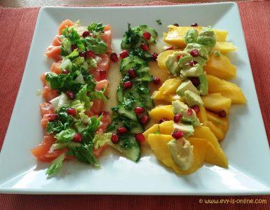 Ensalada de mango, palta y salmón
