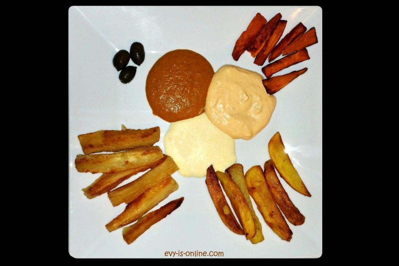 Papas, yucas y camotes fritos con 3 salsas