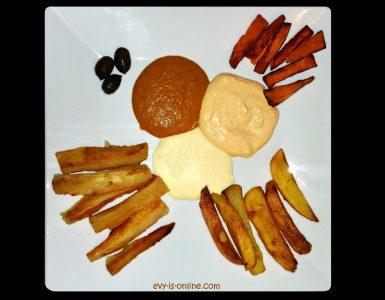 Kartoffeln, Maniok und Süßkartoffeln mit drei Soßen