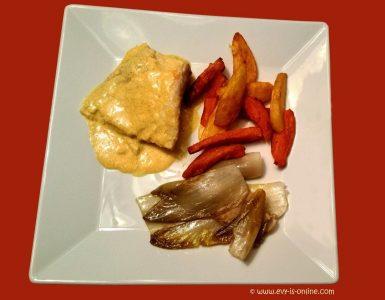 Picante de pescado con endivia y con papas y camotes fritos