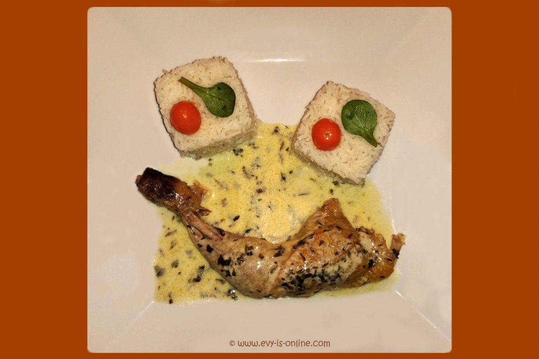 Gallina de guinea en salsa de estragón