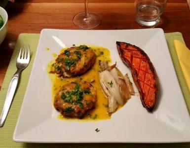 Fischfrikadellen mit Süßkartoffeln